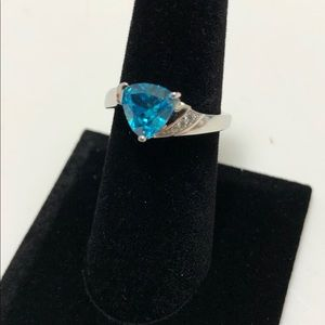 Elegant Blue Topaz And CZ 925 Sterling Silver Ring